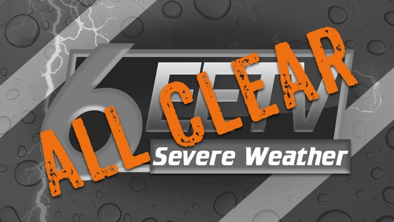 All Clear for severe weather in Lee County. Via EETV.