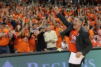 Bruce Pearl celebrates beating the University of Alabama during this year's AUTLIVE game on Feb. 2, 2019. Photo by Ellie McCoy.