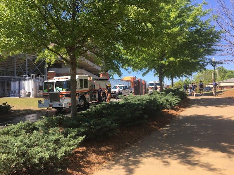 Firetrucks outside the stadium.