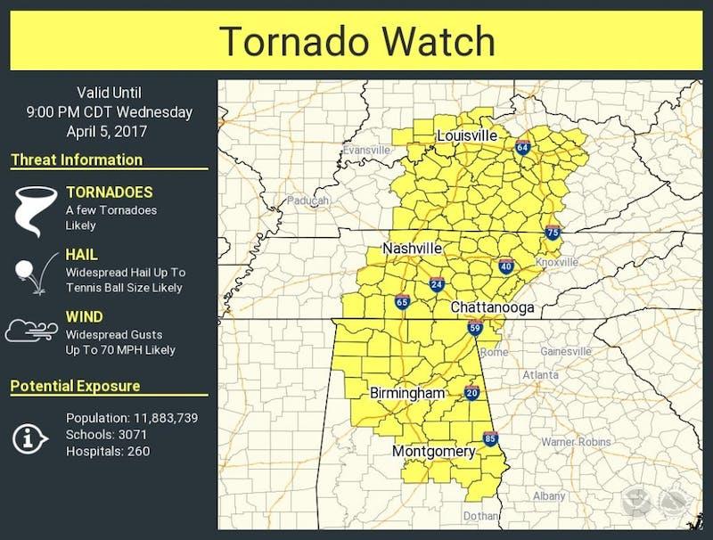April 5 Tornado watch county map