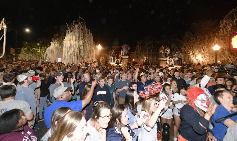 Toomer's Corner celebration of the Auburn men's basketball team beating North Carolina to advance to the Elite 8 on Friday, March 29, 2019 in Auburn, Ala. 