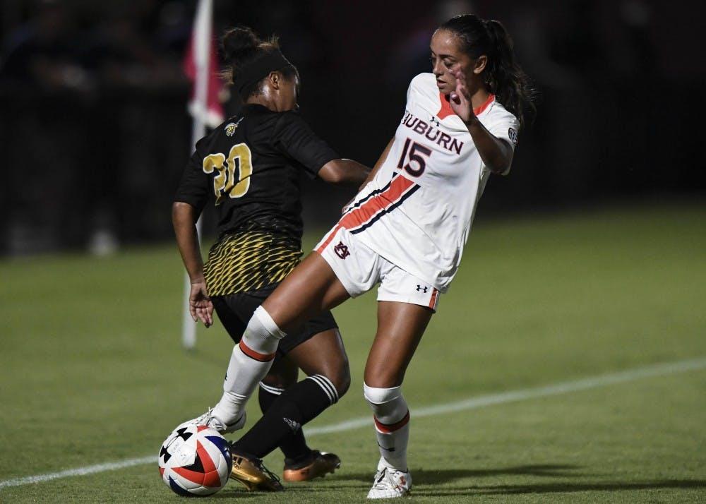 Silvana Poulter (15) Auburn Soccer vs  ASU on Sunday, September 16, 2018, in Auburn, Ala. Cat Wofford/Auburn Athletics