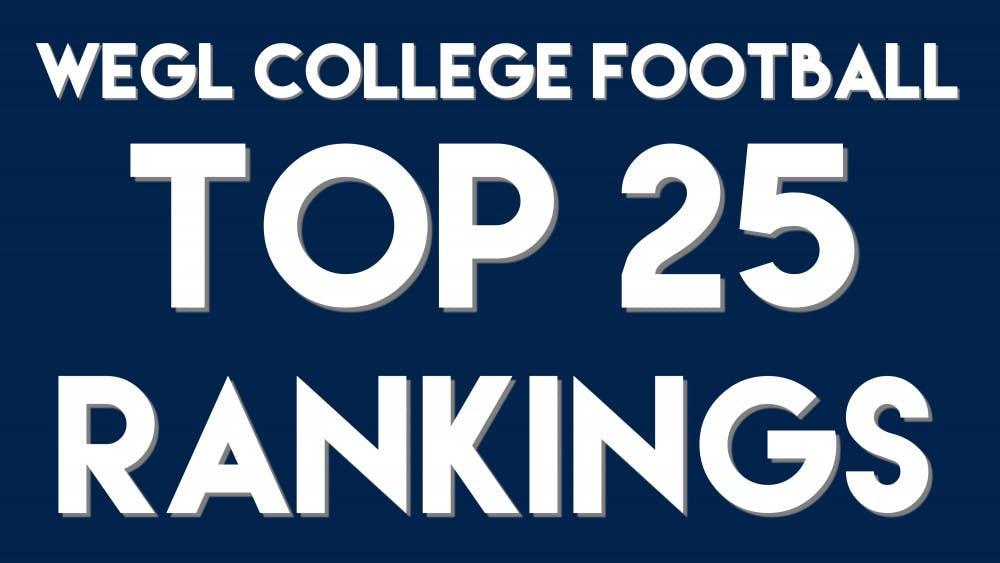 WEGL College Football Top 25 Rankings