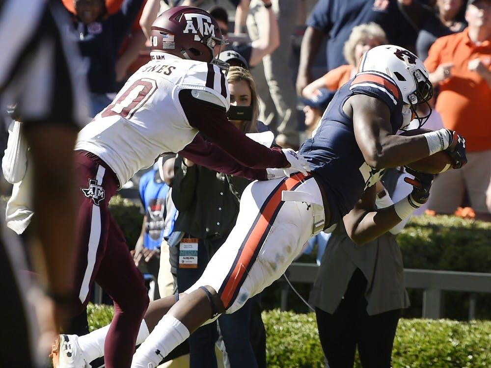 Auburn's Seth Williams catches a touchdown late in the second half.Texas A&M at Auburn football on Saturday, Nov 3, 2018 in Auburn, Ala.Todd Van Emst/AU Athletics
