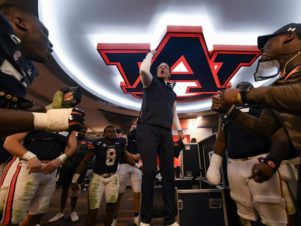 Nov 21, 2020; Auburn AL, USA; Coach Gus Malzahn reacts with the team after the game between Auburn and Tennesee at Jordan Hare Stadium. Mandatory Credit: Todd Van Emst/AU Athletics