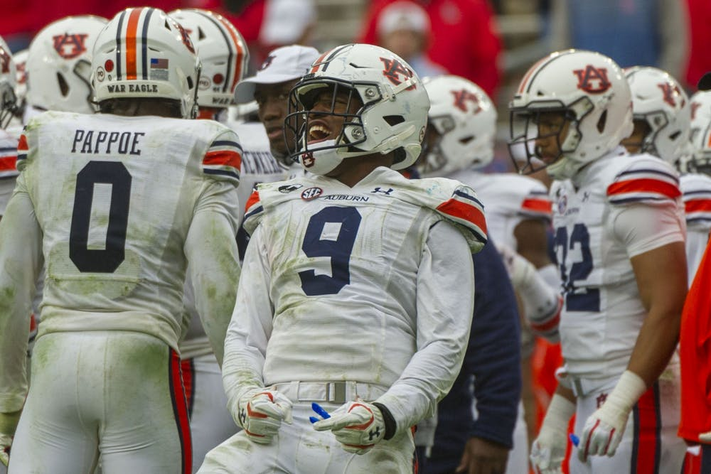 Oct 24, 2020; Oxford, Mississippi, USA; Auburn Tigers linebacker Zakoby McClain (9) reacts during the second half against the Mississippi Rebels  at Vaught-Hemingway Stadium. Mandatory Credit: Justin Ford-USA TODAY Sports
