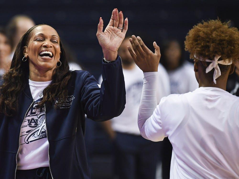 Jan 23, 2020; Auburn, AL, USA; Auburn Tigers head coach Terri Williams-Flournoy greets players during the first half of the game against Ole Miss at Auburn Arena. Mandatory Credit: Shanna Lockwood/AU Athletics