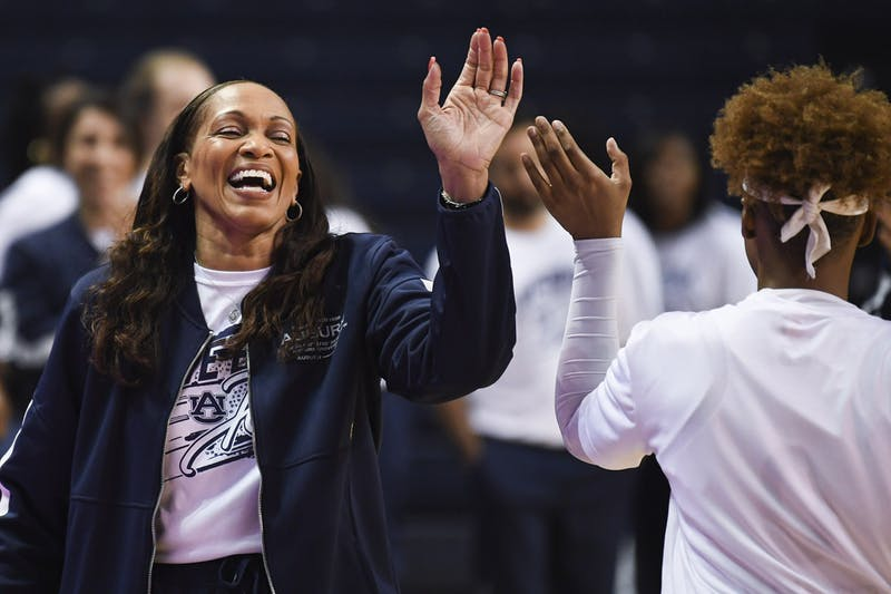 Jan 23, 2020; Auburn, AL, USA; Auburn Tigers head coach Terri Williams-Flournoy greets players during the first half of the game against Ole Miss at Auburn Arena. Mandatory Credit: Shanna Lockwood/AU Athletics