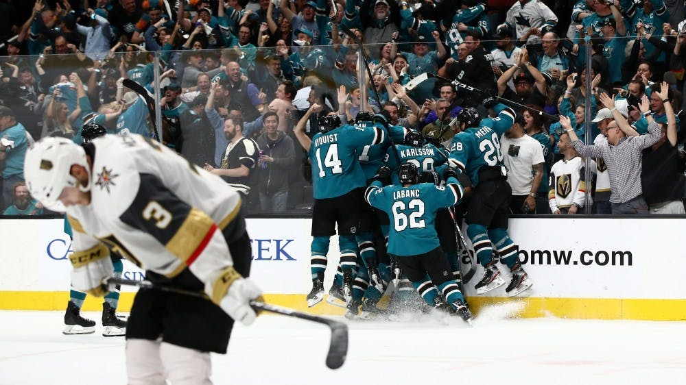 The San Jose Sharks celebrate their game-winning goal in overtime as they complete one of the most unbelievable comebacks in Stanley Cup Playoffs history