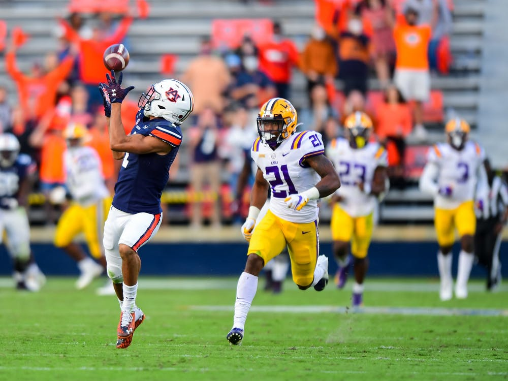 Oct 3, 2020; Auburn AL, USA; Anthony Schwartz (1) gets a catch for a touchdown during the game between Auburn and LSU at Jordan Hare Stadium. Mandatory Credit: Shanna Lockwood/AU Athletics