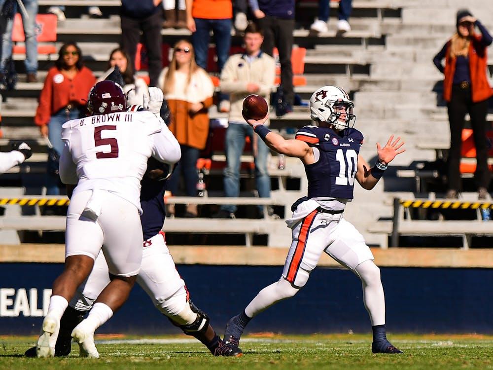 Dec 5, 2020; Auburn AL, USA; Auburn Tigers quarterback Bo Nix (10) throws the ball during the game between Auburn and Texas A&M at Jordan Hare Stadium. Mandatory Credit: Shanna Lockwood/AU Athletics