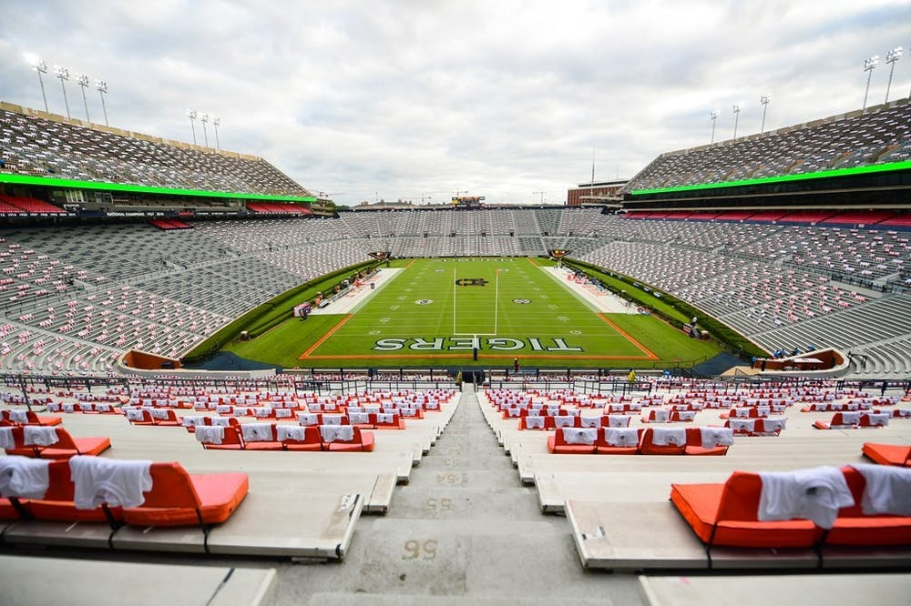 <p>Sep 26, 2020; Auburn, AL, USA; View of the field with unity shirts before the game between Auburn and Kentucky at Jordan-Hare Stadium.</p> <p>Shanna Lockwood/AU Athletics</p>