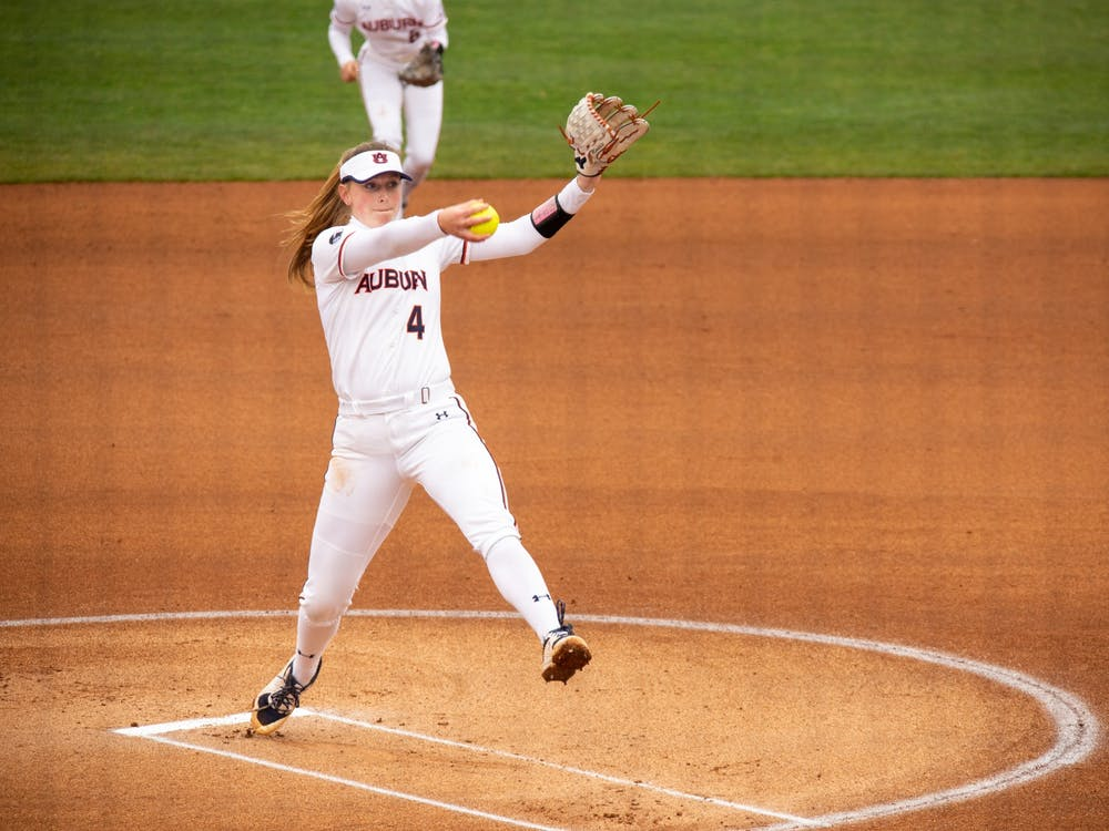 Feb 14, {iptcyear}; Auburn, AL, USA; Maddie Penta (4) starts at pitcher for the third game between Auburn and Southeast Missouri State at Jane B Moore Field. Mandatory Credit: Matthew Shannon/AU Athletics