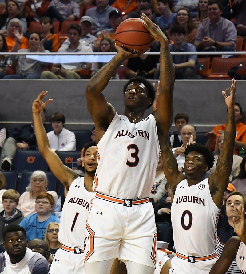 Danjel Purifoy (3) hits a three pointer in the second half.  Auburn Mens Basketball vs Lipscomb on Sunday, December 29, 2019 in Auburn, Ala.Anthony Hall/Auburn Athletics