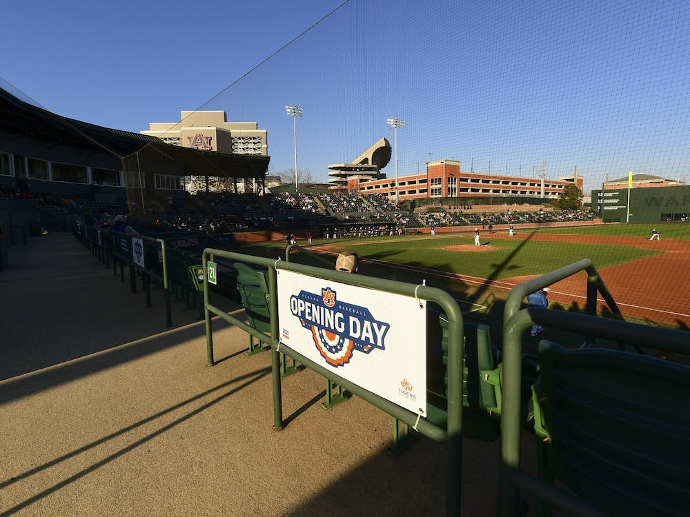 Feb 19, 2021; Auburn, AL, USA; View of opening day signage during the game between Auburn and Presbyterian  at Plainsman Park. Mandatory Credit: Shanna Lockwood/AU Athletics