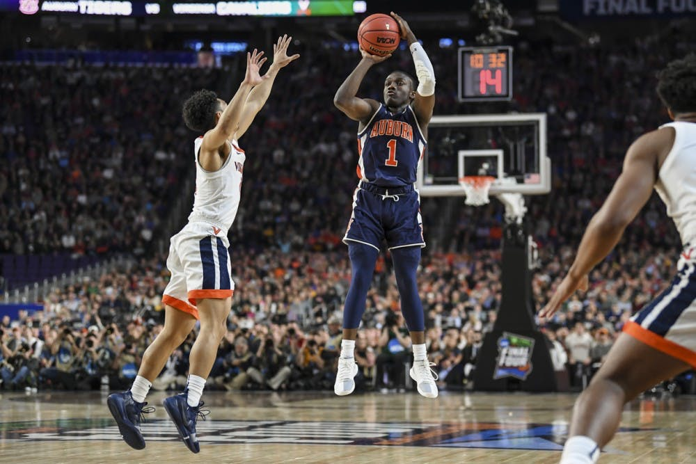 <p>Jared Harper</p> <p>Auburn men's basketball vs Virginia during semifinals of the Final Four on Saturday, April 6, 2019, in Minneapolis, Minn.</p>