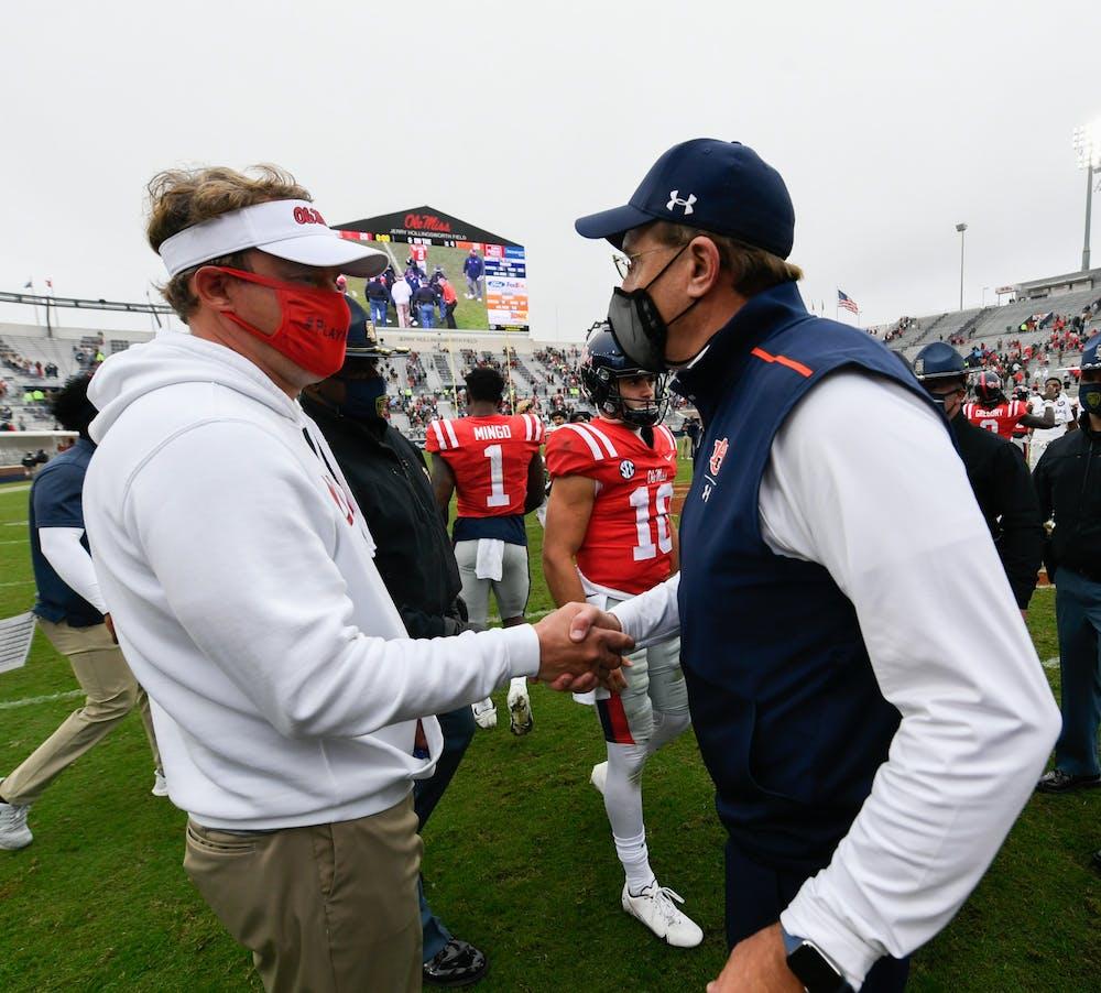 Oct 3, 2020; Oxford, MS, USA; Coach Gus Malzahn after the game between Auburn and Ole Miss at Vaught Hemingway Stadium. Mandatory Credit: Todd Van Emst/AU Athletics