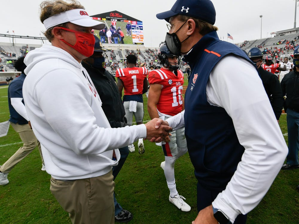 Oct 3, 2020; Oxford, MS, USA; Coach Gus Malzahn after the game between Auburn and Ole Miss at Vaught Hemingway Stadium. Mandatory Credit: Todd Van Emst/AU Athletics