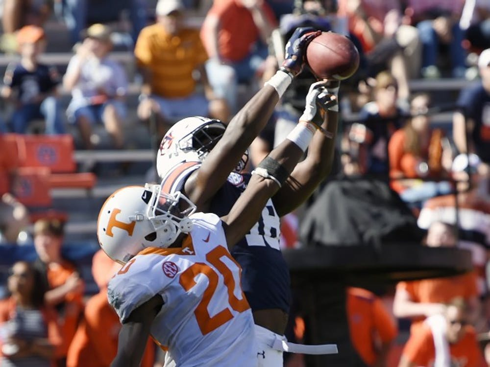 Seth Williams catches a touchdown in the second half.Tennessee at Auburn on Saturday, Oct. 13, 2018 in Auburn, Ala.Todd Van Emst/AU Athletics