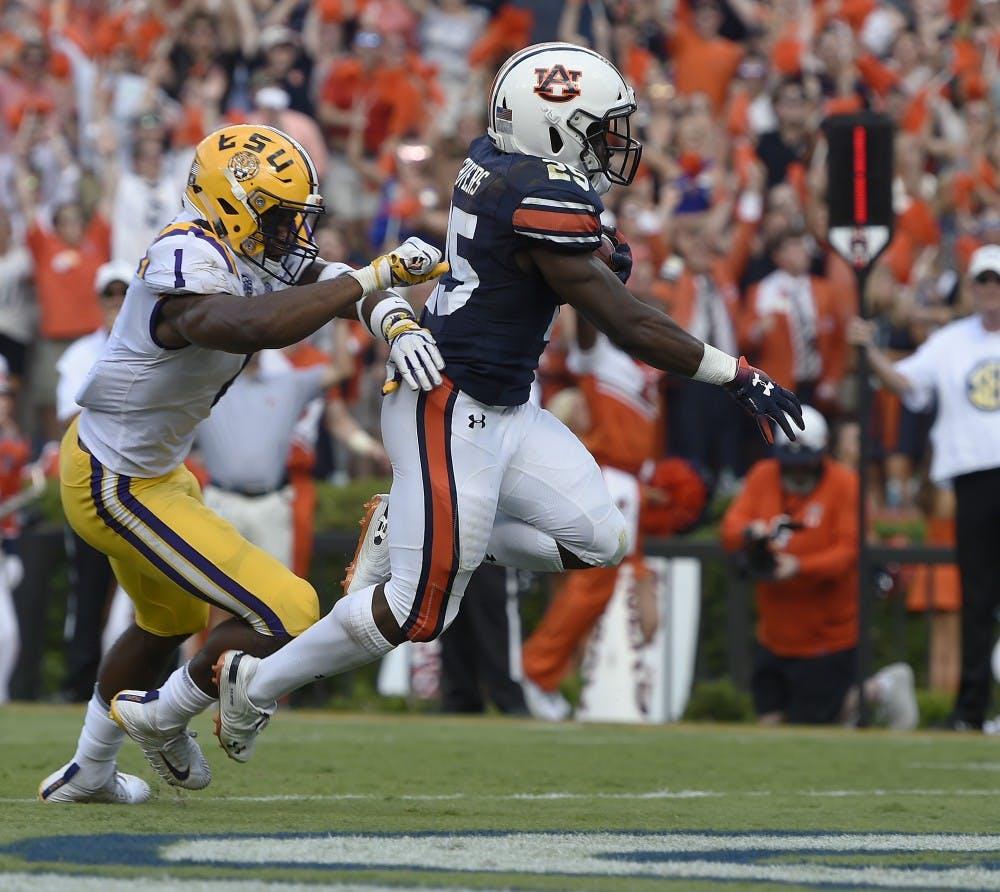 Auburn's Shaun Shivers scores Auburn's second TD of the first half.LSU at Auburn football on Saturday, Sept. 15, 2018 in Auburn, Ala.Todd Van Emst/AU Athletics