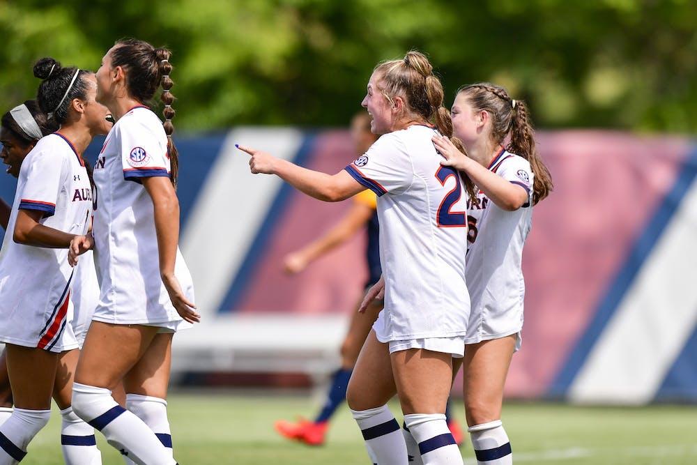 Aug 31, 2021; Auburn, AL, USA; Olivia Candelino (23) reacts after a goal between Auburn and Chattanooga at Auburn Soccer Complex. Mandatory Credit: Jacob Taylor/AU Athletics