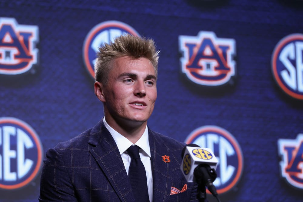 Auburn quarterback Bo Nix speaks to the media during the 2021 SEC Football Kickoff Media Days on July 22,2021 at the Wynfrey Hotel,Hoover,Alabama. (Jimmie Mitchell/SEC)