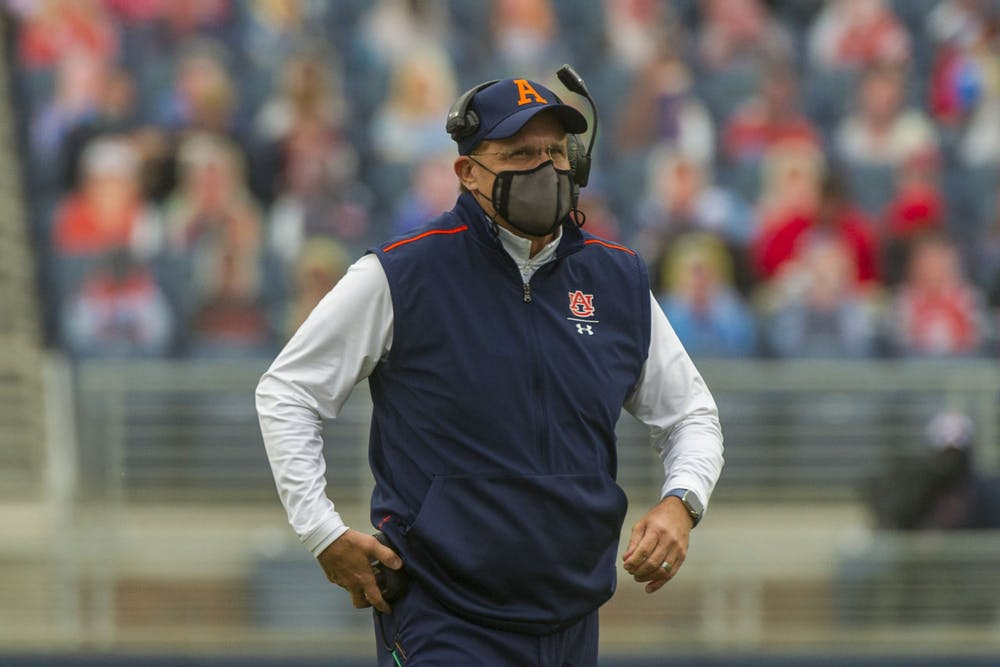 Oct 24, 2020; Oxford, Mississippi, USA; Auburn Tigers head coach Gus Malzahn during the second half against the Mississippi Rebels  at Vaught-Hemingway Stadium. Mandatory Credit: Justin Ford-USA TODAY Sports