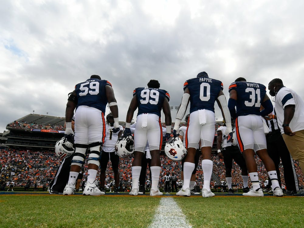 Sep 11, 2021; Auburn, AL, USA; Captains meeting before the game between Auburn and Alabama State at Jordan-Hare Stadium. Mandatory Credit: Todd Van Emst/AU Athletics