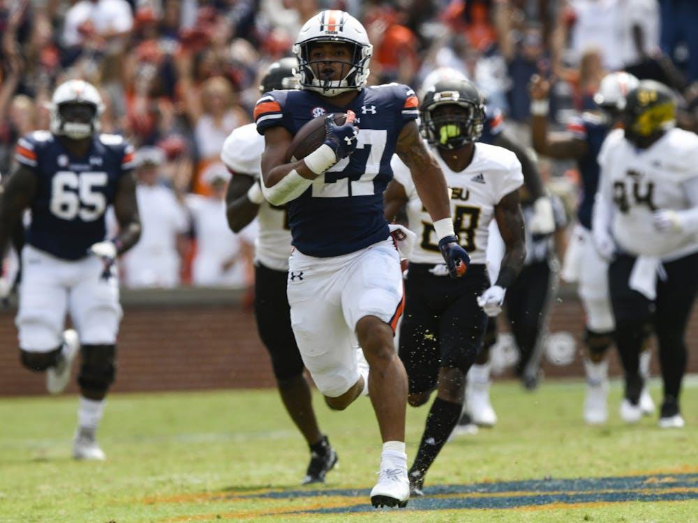 Sep 8, 2021; Auburn, AL, USA; Jarquez Hunter (27) runs longest touchdown run between Auburn and Alabama State at Jordan-Hare Stadium. Mandatory Credit: Todd Van Emst/AU Athletics