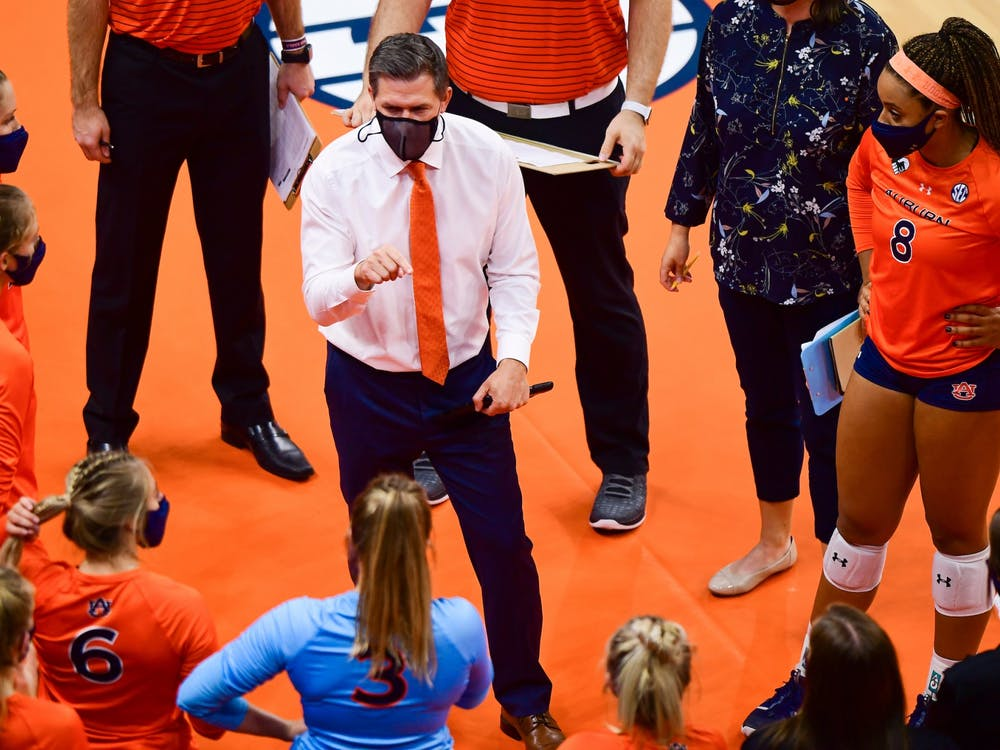 Oct 21, 2020; Auburn, AL, USA; Auburn Tigers head coach Brent Crouch speaks to his players during the game between Auburn and Florida at Auburn Arena. Mandatory Credit: Shanna Lockwood/AU Athletics