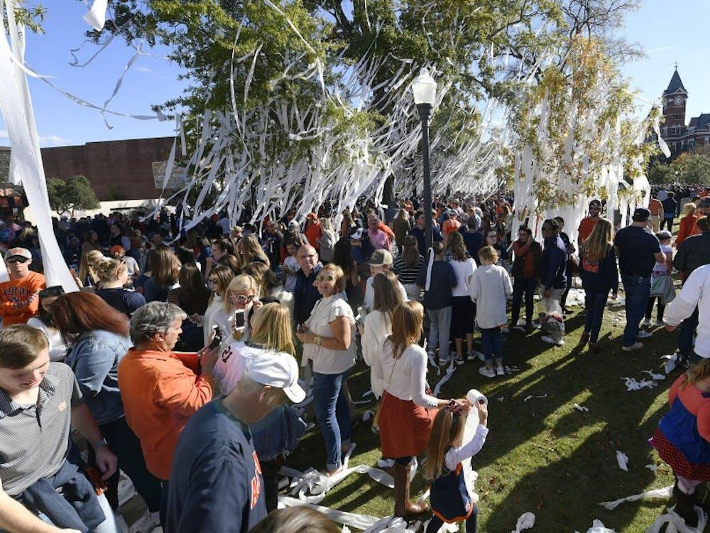 Fans roll Toomer's Corner and Samford Lawn after the win Saturday.Texas A&M at Auburn football on Saturday, Nov 3, 2018 in Auburn, Ala.Todd Van Emst/AU Athletics