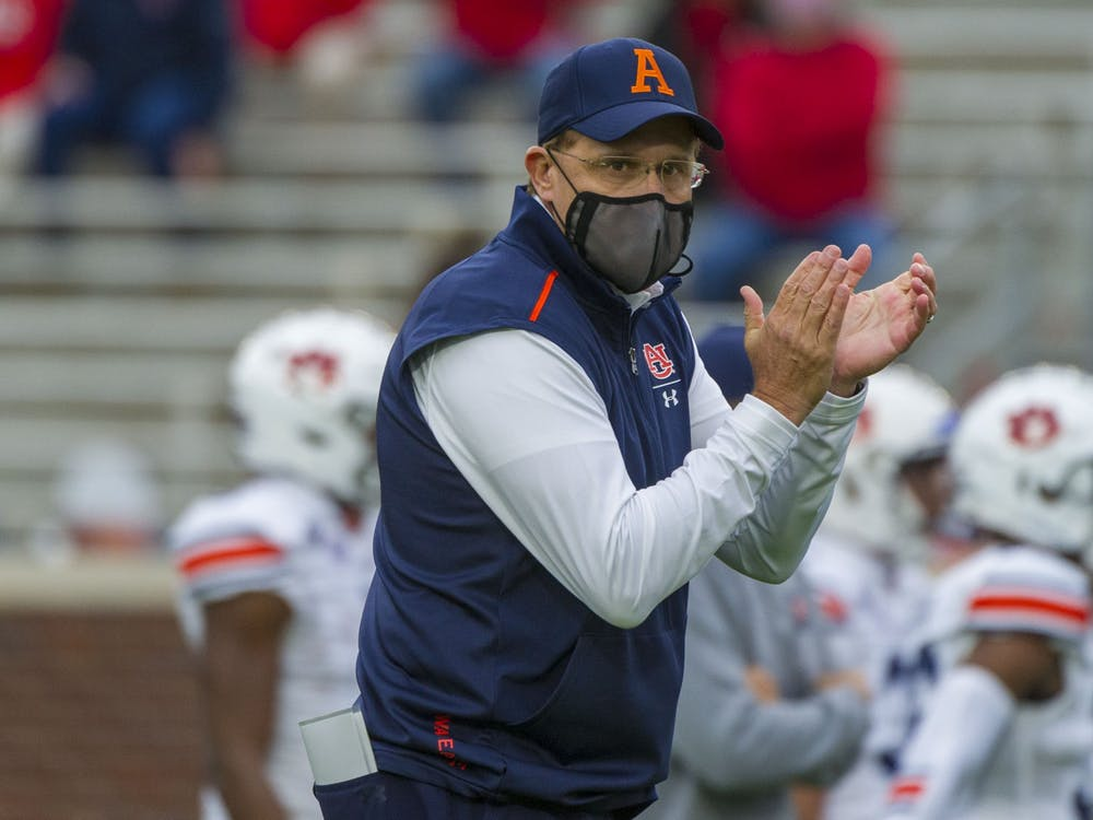 Oct 24, 2020; Oxford, Mississippi, USA; Auburn Tigers head coach Gus Malzahn before the game against the Mississippi Rebels at Vaught-Hemingway Stadium. Mandatory Credit: Justin Ford-USA TODAY Sports