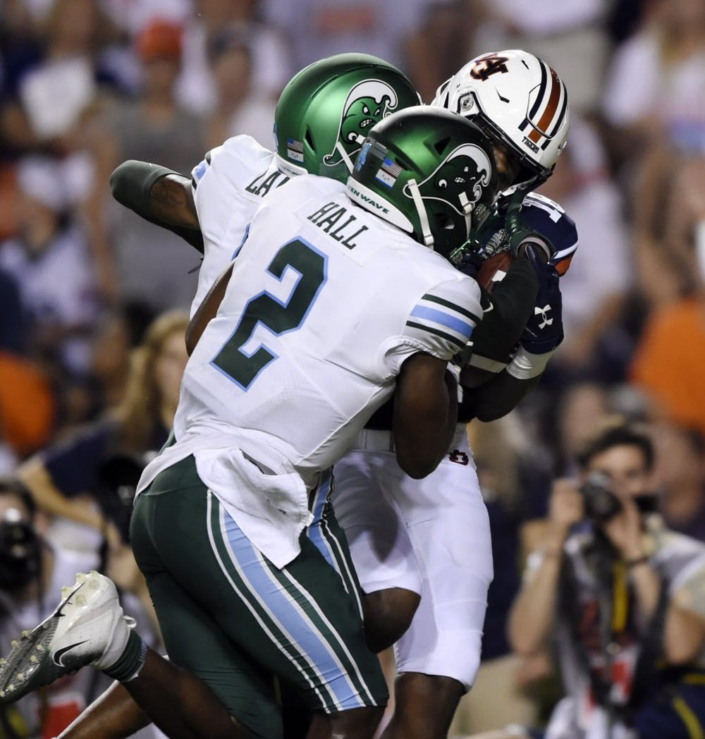 Seth Williams makes a long catch in the first half setting up a touchdown. Auburn Football Tulane at Auburn on Saturday, Sept. 7, 2019 in Auburn, Ala.