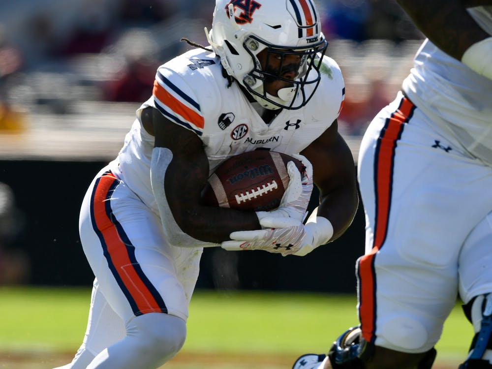 Oct 3, 2020; Columbia, SC, USA; Tank Bigsby (4) rushes the ball during the game between Auburn and South Carolina at Williams-Brice Stadium. Mandatory Credit: Todd Van Emst/AU Athletics