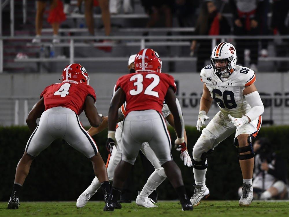 Oct 3, 2020; Athens, GA, USA; Austin Troxell (68) reacts during the game between Auburn and Georgia at Samford Stadium. Mandatory Credit: Todd Van Emst/AU Athletics