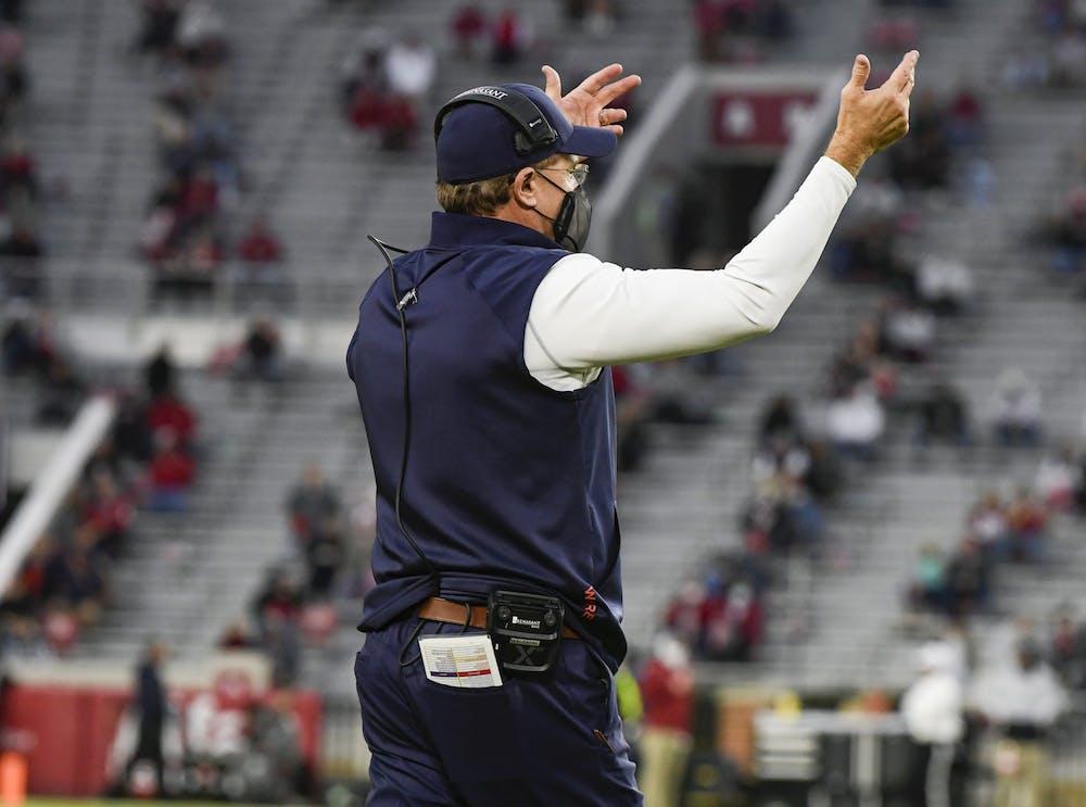 Oct 3, 2020; Tuscaloosa AL, USA; Coach Gus Malzahn reacts during the game between Auburn and Alabama at Bryant-Denny Stadium. Mandatory Credit: Todd Van Emst/AU Athletics