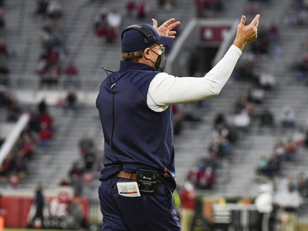 Oct 3, 2020; Tuscaloosa AL, USA; Coach Gus Malzahn reacts during the game between Auburn and Alabama at Bryant-Denny Stadium. Mandatory Credit: Todd Van Emst/AU Athletics