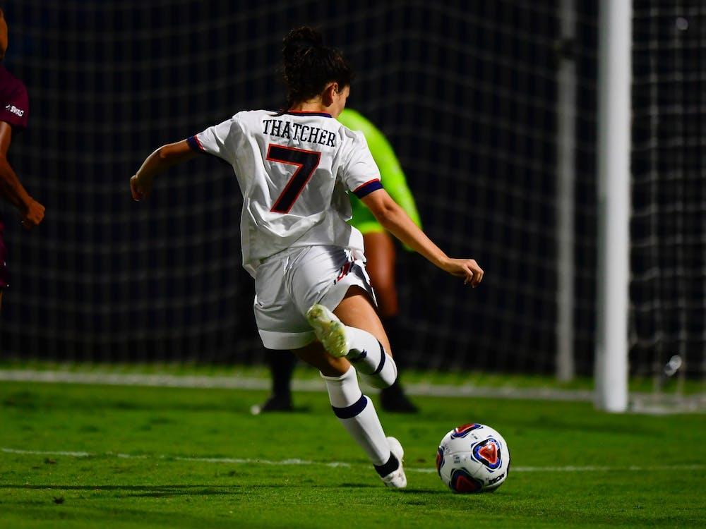 Sep 9, 2021; Auburn, AL, USA; Carly Thatcher (7) scores a goal during the game between Auburn and Alabama A&M at Auburn Soccer Complex. Mandatory Credit: Matthew Shannon/AU Athletics