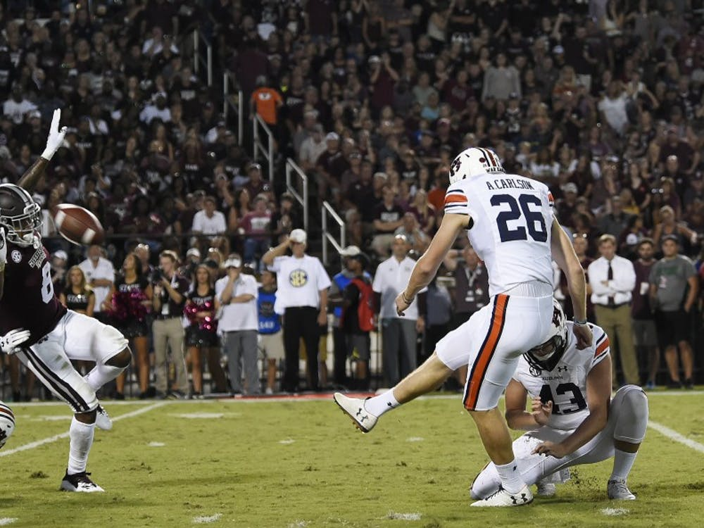 Anders Carlson kicks a field goal in the second half.Auburn at Miss State football on Saturday, Oct. 6, 2018 in Starkville, MsTodd Van Emst/AU Athletics