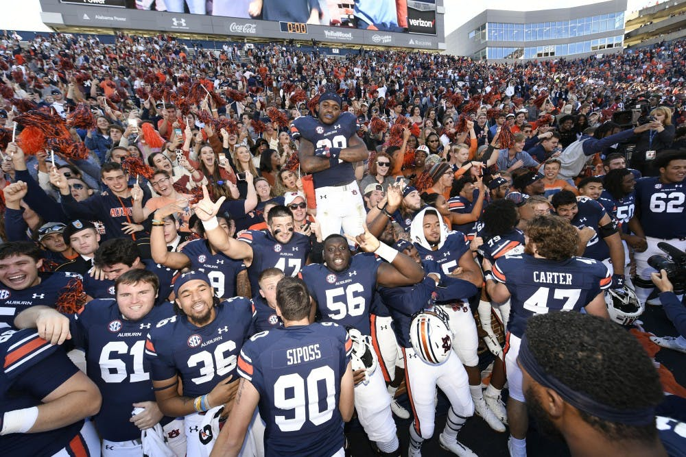 Auburn celebrates the win.