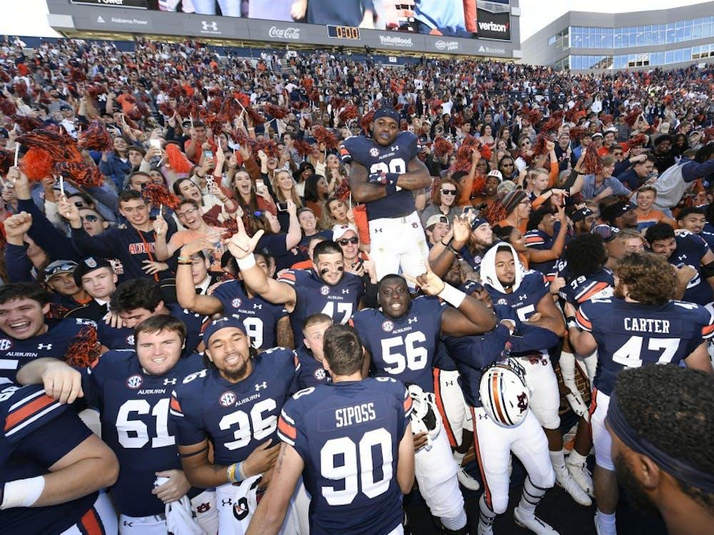 Auburn celebrates the win.Texas A&M at Auburn football on Saturday, Nov 3, 2018 in Auburn, Ala.Todd Van Emst/AU Athletics