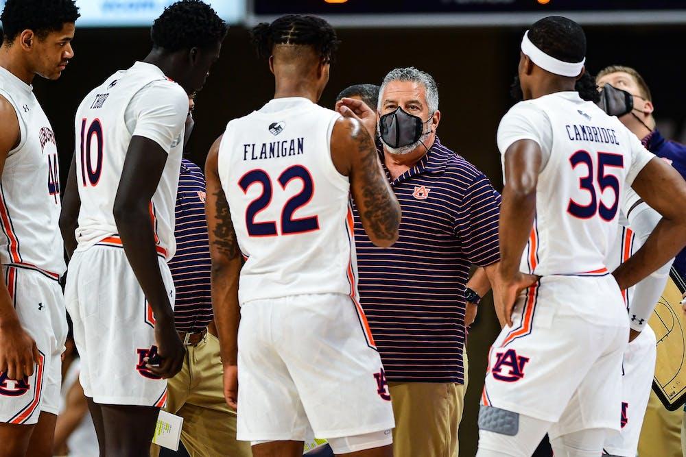 Dec 4, 2020; Auburn, AL, USA; Bruce Pearl talks to the team during during the game between Auburn and South Alabama at Auburn Arena. Mandatory Credit: Shanna Lockwood/AU Athletics