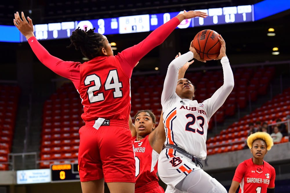 Dec 1, 2020; Auburn, AL, USA; Honesty Scott-Grayson (23) shoots during the game between Auburn and Gardner-Webb at Auburn Arena. Mandatory Credit: Shanna Lockwood/AU Athletics