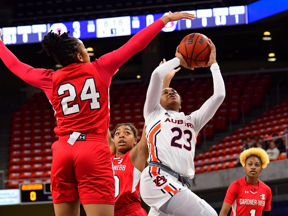 Dec 1, 2020; Auburn, AL, USA; Honesty Scott-Grayson (23) shoots during the game between Auburn and Gardner-Webb at Auburn Arena. Mandatory Credit: Shanna Lockwood/AU Athletics