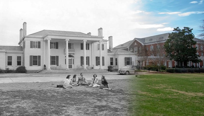 The lawn of Cater Hall then and now. Adam Brasher