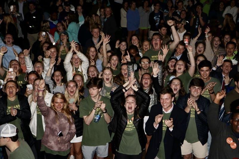 Students support the new elected SGA members during callouts on Tuesday, Feb. 4, 2020, in Auburn, Ala.