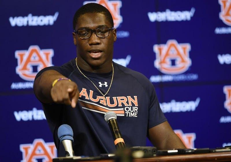 Auburn linebacker K.J. Britt during a press conference Sept. 25, 2018, in Auburn, Ala.