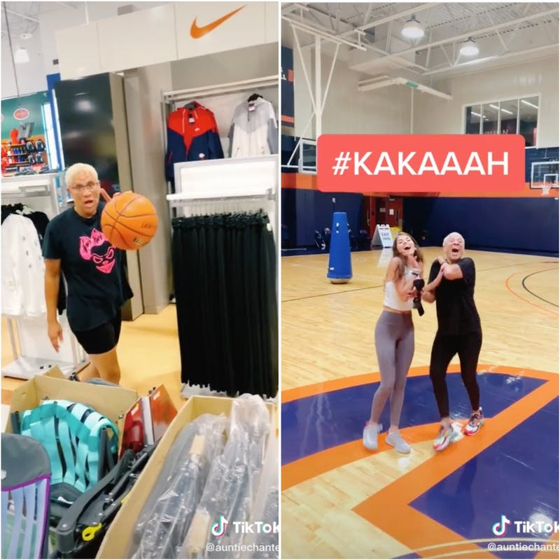 The video in Dick's Sporting Goods (left) photo via @auntiechantel on TikTok. Answering Madi Prewett's challenge (right) photo via @auntiechantel on TikTok.