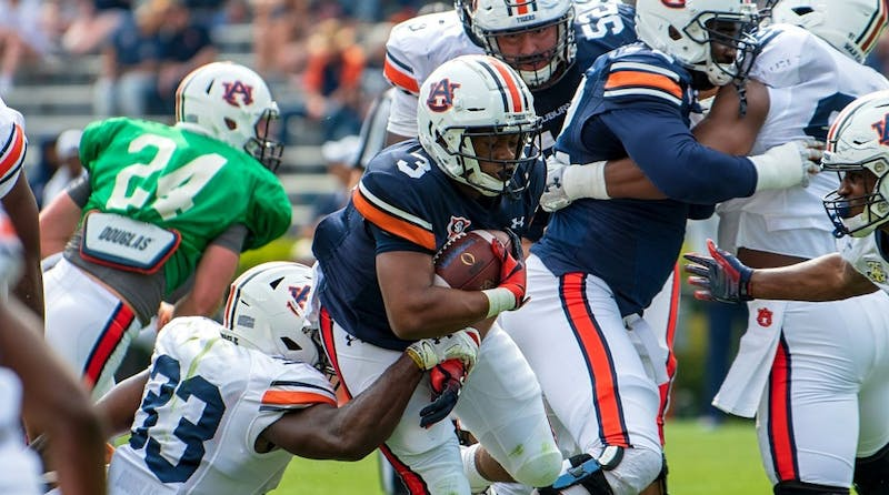 D.J. Williams (3) runs with the ball during A-Day 2019, on Saturday, April 13, 2019, in Auburn, Ala.
