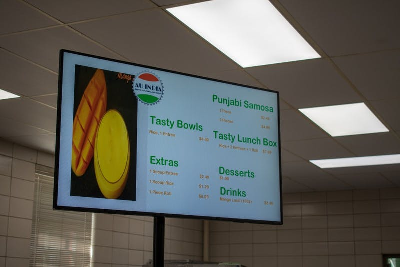 The menu of AU India in Terrell Hall on May 14, 2019, in Auburn, Ala.